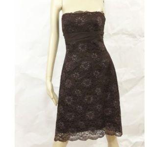 BCBG Maxazria Dress Metallic Floral Lace Strapless